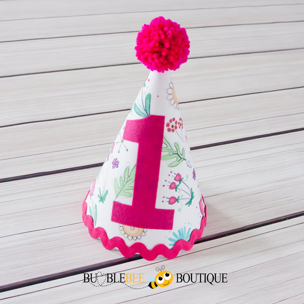 Bambini Floral Girl's Cake Smash Outfit Party Hat