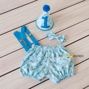 The Party Stopper 4 piece boys' cake smash outfit by Bumblebee Boutique