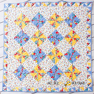 Blue & Yellow Pinwheel design Fruit Salad Patchwork Quilt