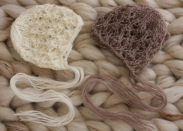 Hand knitted lacey mohair bonnets pair newborn photography prop