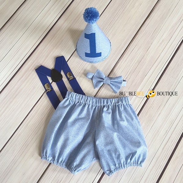Burlap Blue cake smash outfit with royal blue suspenders