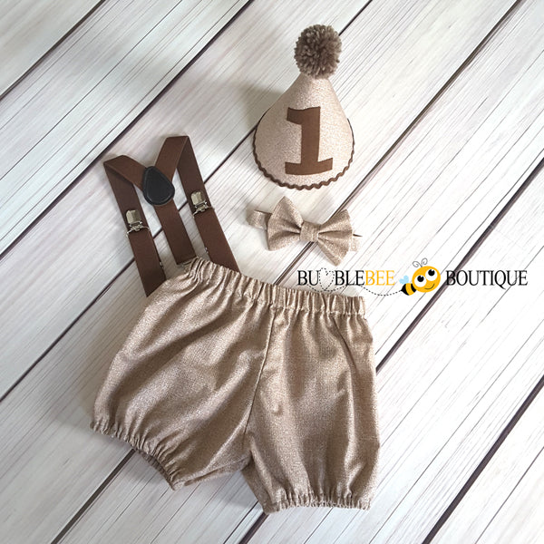 Burlap Brown cake smash outfit with dark brown suspenders