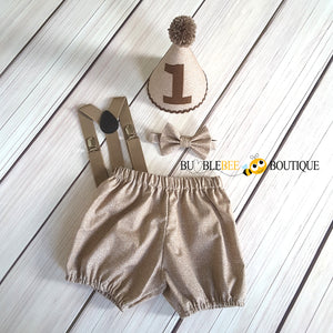Burlap Brown cake smash outfit with light brown suspenders
