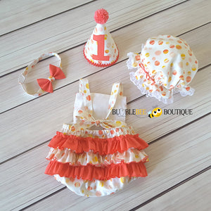 Sunset Spots girl's cake smash outfit back view