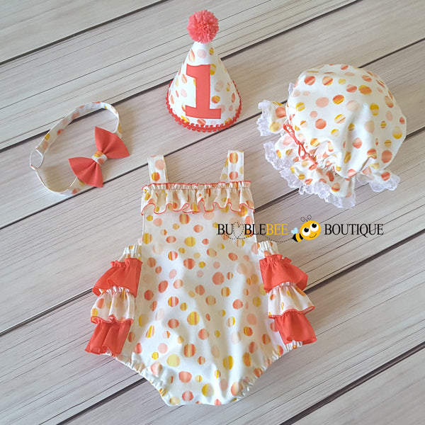 Sunset Spots girl's cake smash outfit front view