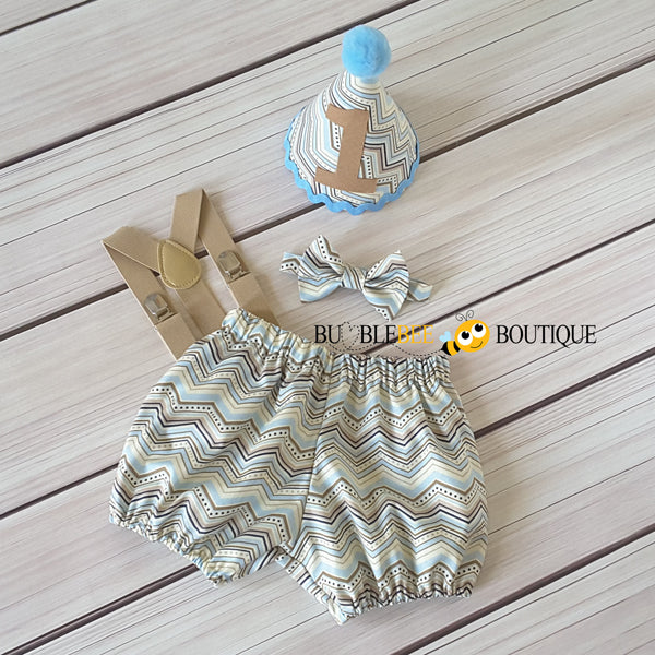 Chevron pale blue & beige cake smash outfit