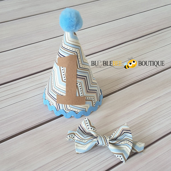 Chevron pale blue & beige cake smash outfit Party hat & bow tie