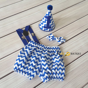 Royal Blue & White Chevron Cake Smash Outfit by Bumblebee Boutique