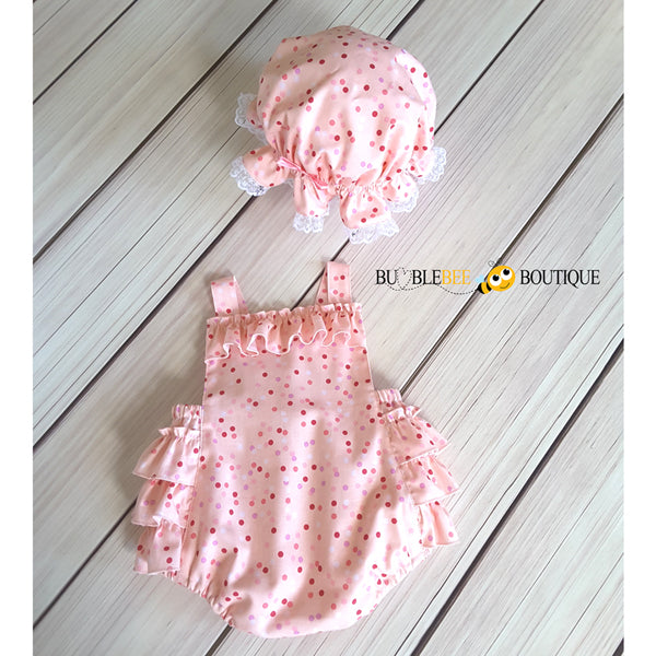Confetti Pink Girls' Cake Smash Outfit Ruffle Romper front with matching Mob Cap