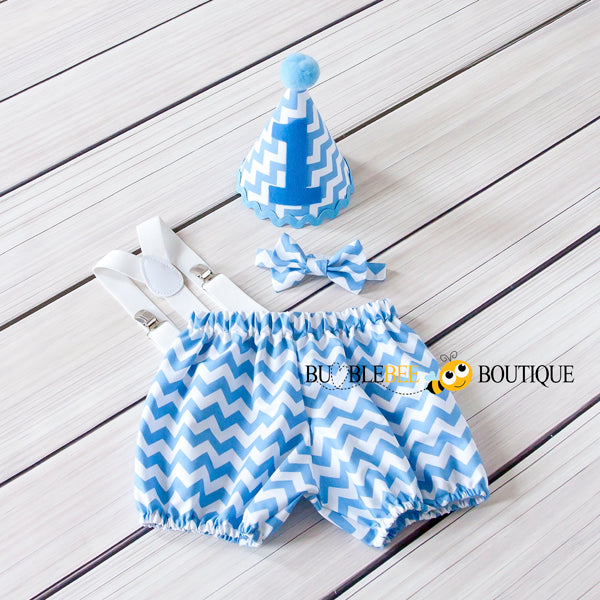 Mid-blue chevron cake smash outfit