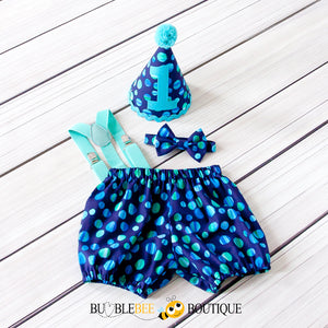 Moonrise blue & green cake smash outfit with Aqua trim and suspenders