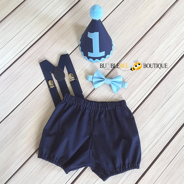 Navy & Pale Blue Blue Cake Smash Outfit