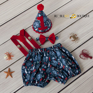 Octopus Beach Cake Smash Outfits with red suspenders & bow tie