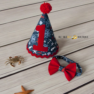 Octopus Beach Cake Smash Party Hat and Bow Tie