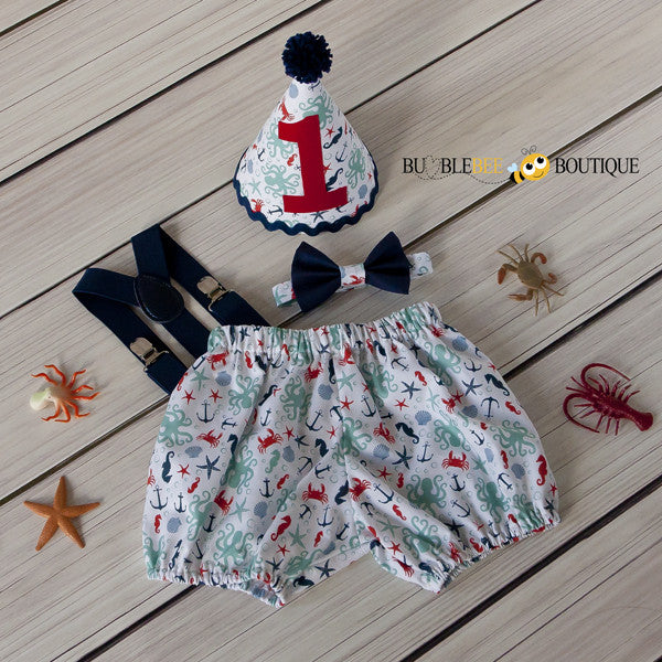 Octopus Beach White Cake Smash Outfit with Navy Suspenders & Tie