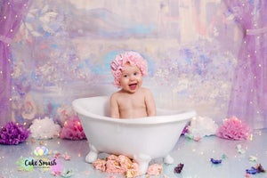 Plain Pink Frilly Mob Cap by Gold Coast Cake Smash Photography