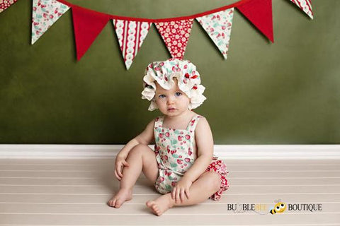 Strawberries and Cream Bunting with matching Cake Smash Outfit