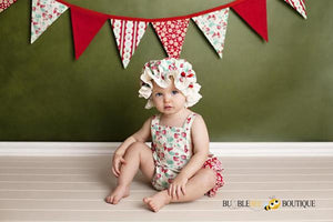 Strawberries and Cream Frilly Mob Cap with matching Cake Smash Outfit and Bunting