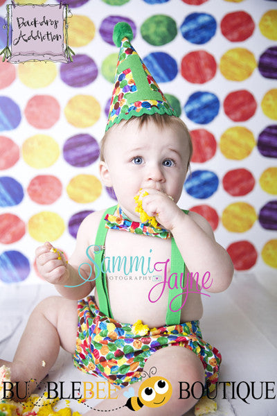 Caterpillar dots cake smash outfit with green trim