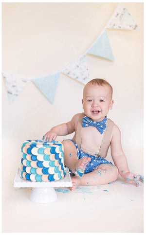 Star of the Show Cake Smash Set - Blue with cream, beige and white stars.