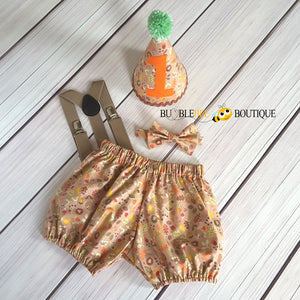 Woodland cake smash outfit with light brown suspenders