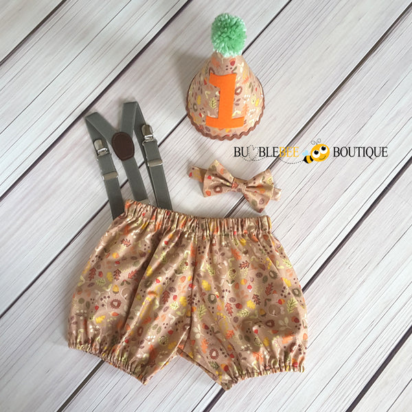 Woodland cake smash outfit with olive suspenders