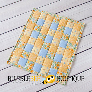 Cornflowers Yellow & Blue Mini Quilt front