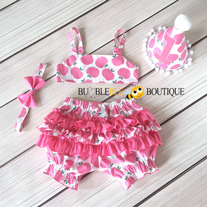 Apple of My Eye Pink Girls Cake Smash Outfit back view
