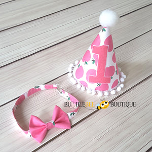 Apple of My Eye Pink Girls Cake Smash Outfit headband and party hat