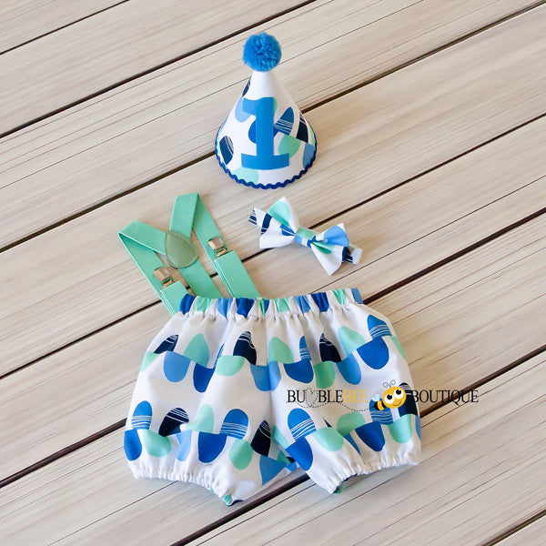 Blue & Aqua Scallops Cake Smash Set with Aqua Suspenders