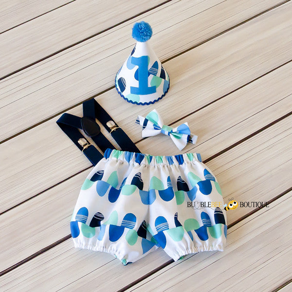 Blue & Aqua Scallops Cake Smash Set with Navy Blue Suspenders