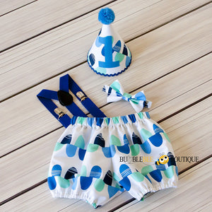 Blue & Aqua Scallops Cake Smash Set with Royal Blue Suspenders