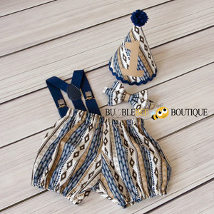 Adventure Tribal navy boys cake smash outfit with navy suspenders