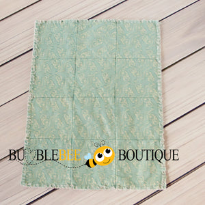Rag Quilt - Antique Floral with Vintage Teal backing back view