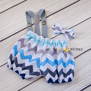 Blue & grey multi chevron cake smash set with light grey suspenders