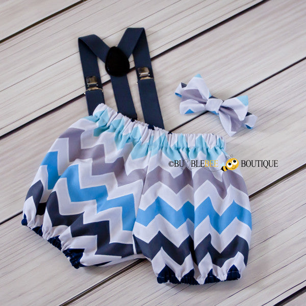 Blue & grey multi chevron cake smash set with dark grey suspenders
