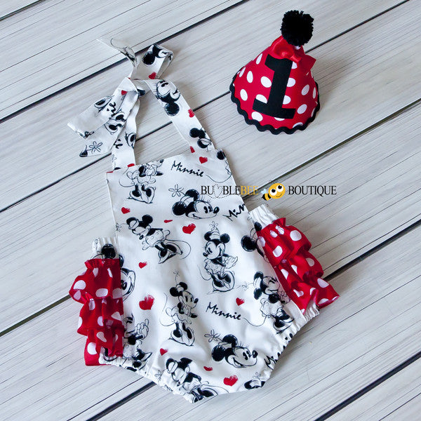 Minnie Mouse Girls Cake Smash Outfit Frilly Romper   Party Hat afe75bb64f84