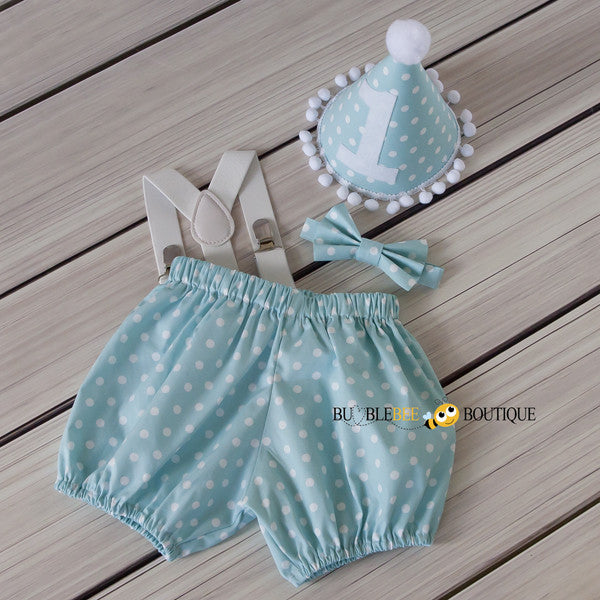 Gone Dotty Pale Aqua Cake Smash Set