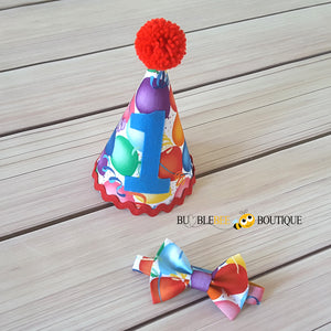 Celebration Balloons Cake Smash Outfit Party Hat & Bow Tie