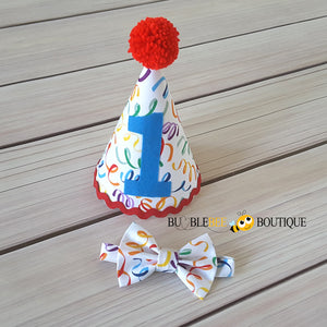 Celebration Streamers Cake Smash Outfit Party Hat & Bow Tie