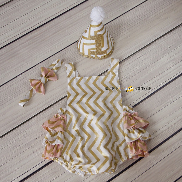 Whtie & Blush Pink & Gold Chevron Girls' Cake Smash Outfi
