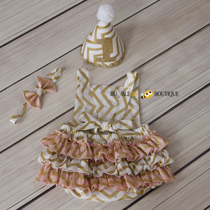Back view of Blush Pink & Gold Chevron Girls' Cake Smash Outfi