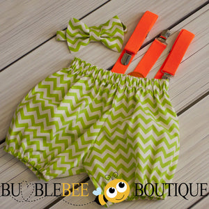 Green Chevron cake smash set with orange suspenders
