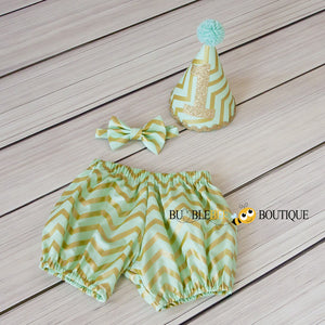Mint Green & Glimmer Gold Chevron boys' cake smash outfit