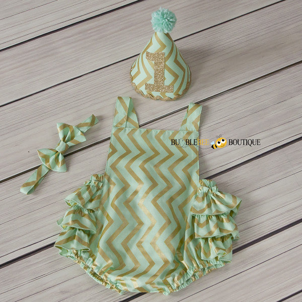 Mist Green & Gold Glimmer Chevron Girls' Cake Smash Outfit. Frilly romper, headband, party hat.