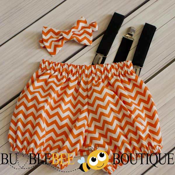 Orange Chevron cake smash outfit with black suspenders