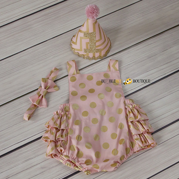 Blush Pink & Gold Chevron & Spots Girls' Cake Smash Outfit.