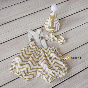 Chevron - Glimmer Gold & White Cake Smash Set
