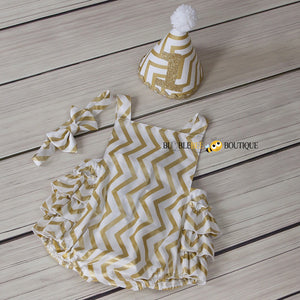 White & Gold Glimmer Chevron Girls' Cake Smash Outfit. Romper, headband & party hat.