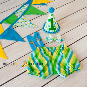 Circus - Blue one of a kind cake smash outfit & bunting set